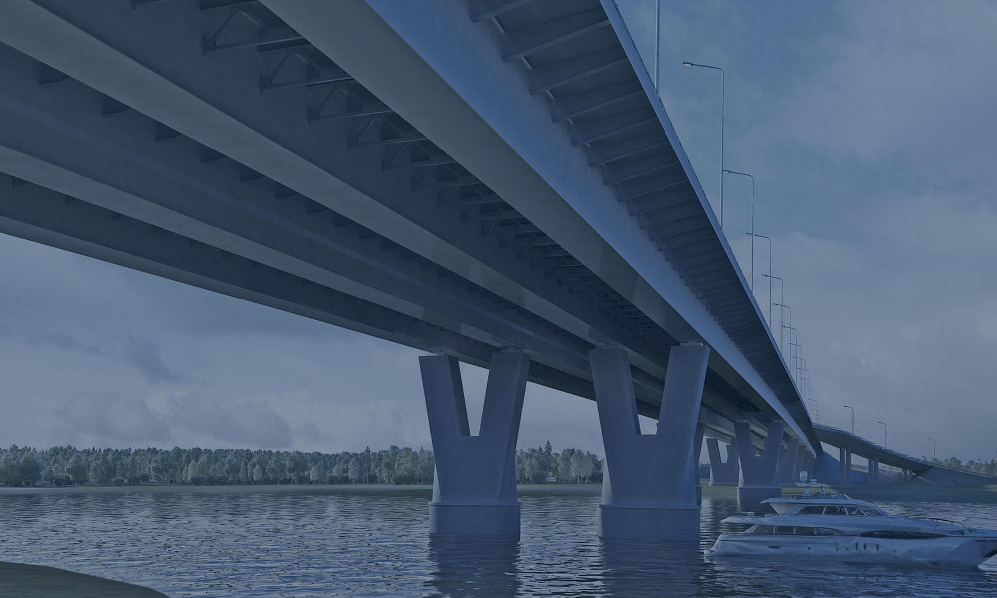 Реконструкция мостового перехода через реку Волхов на км 122+085 автомобильной дороги М-18 «Кола» в Ленинградской области