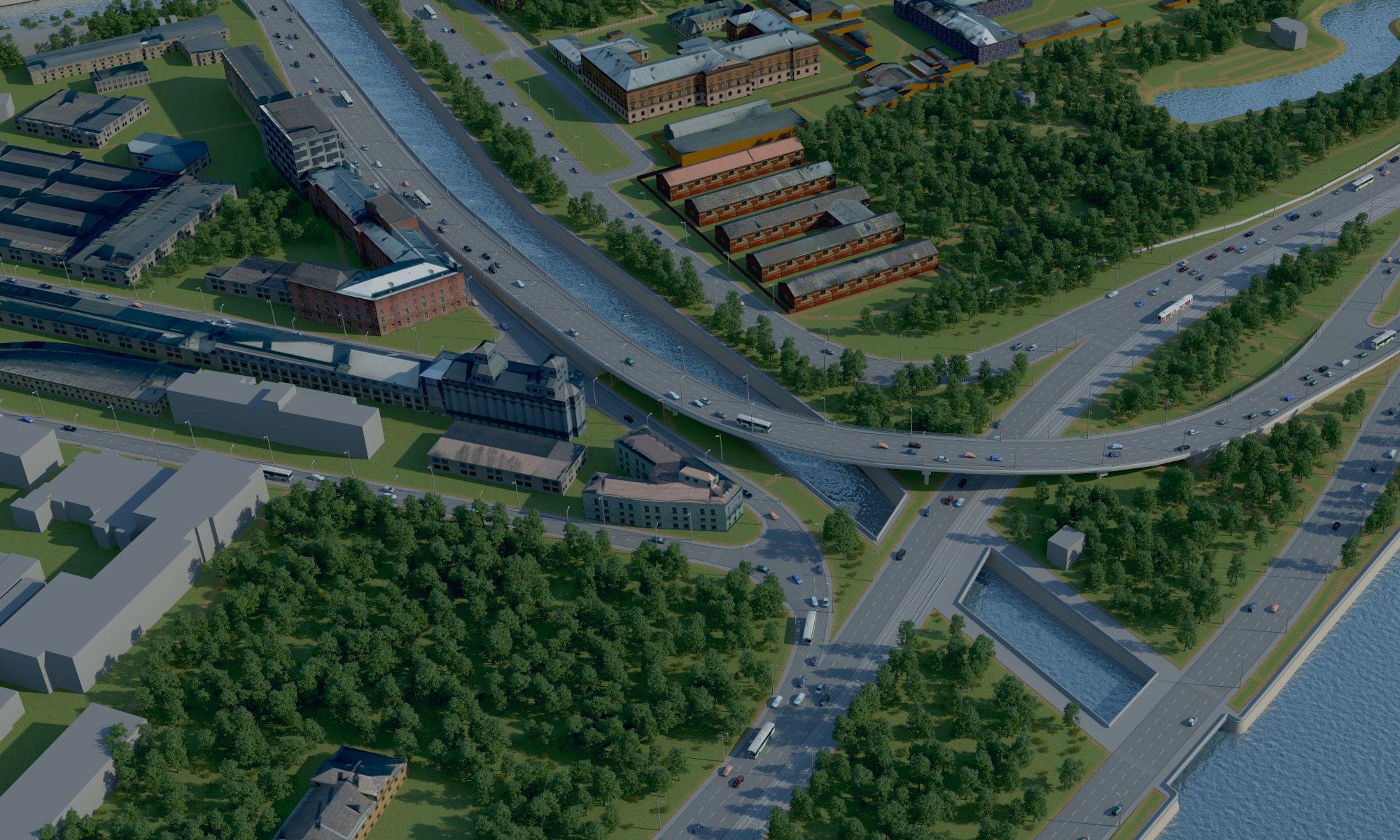 Cтроительство проезда по южному берегу Обводного канала от Глухоозерского шоссе до пр. Обуховской обороны.