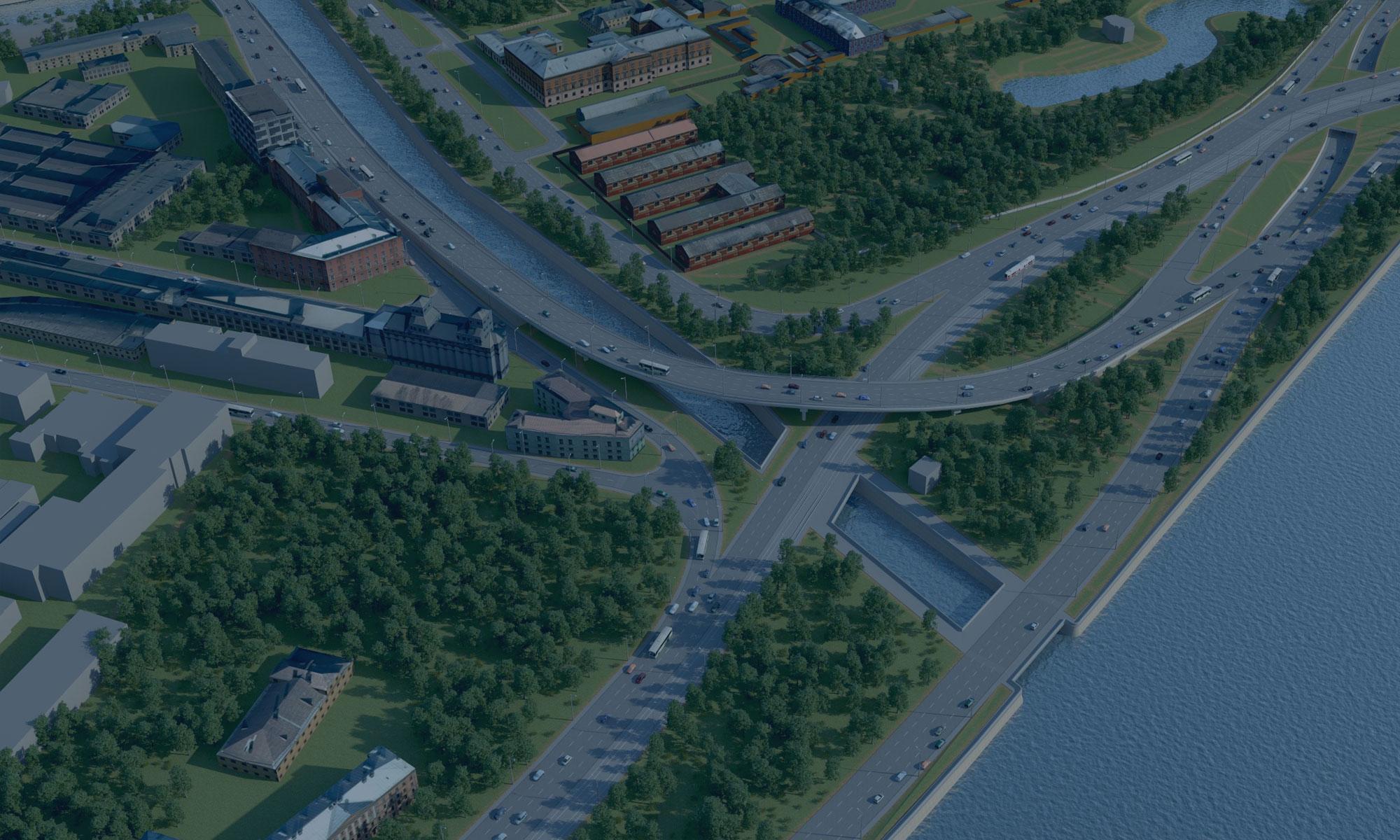 Строительство объекта «Проезда по южному берегу Обводного канала» 2 этап