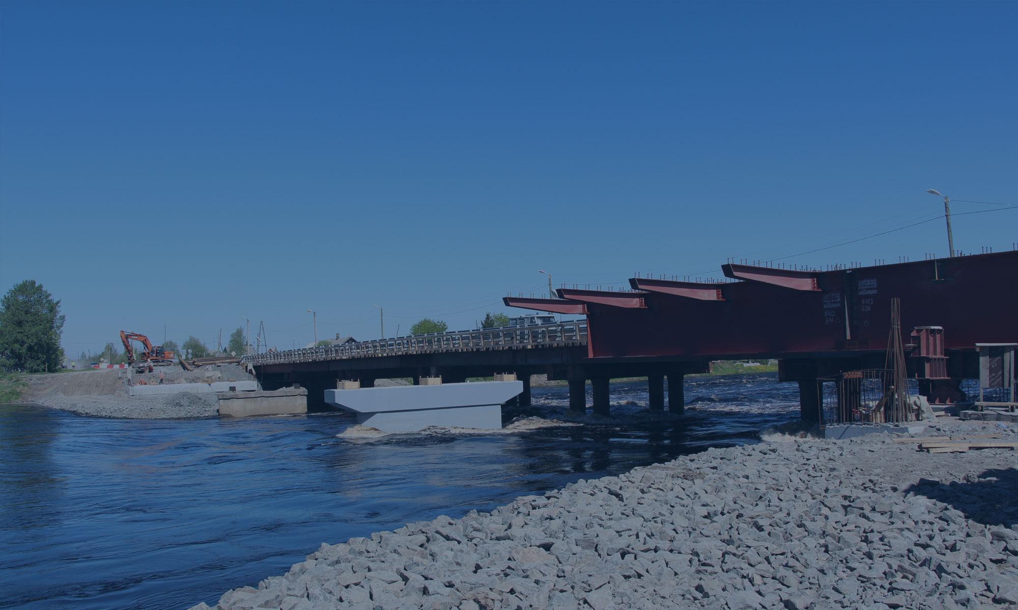 Строительство моста через реку Шуя